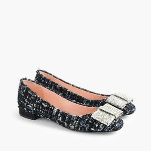 J. CREW Poppy Ballet Flats Tweed Glitter Bow